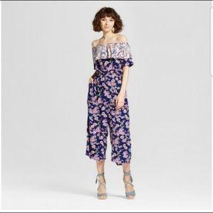 219bd95b34b Xhilaration Pants - NWOT Xhilaration blue   purple floral jumpsuit